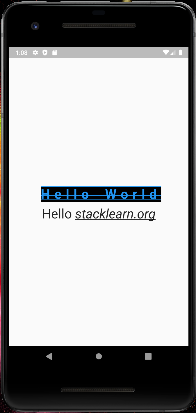 Hello World application in flutter